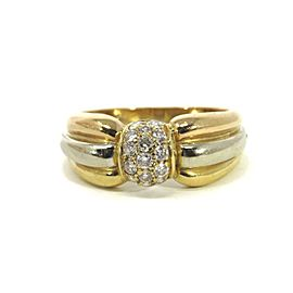 Cartier Diamond 18k Tri-Color Gold Ribbed Style Band Ring Size 54 US 6.5 w/Cert.