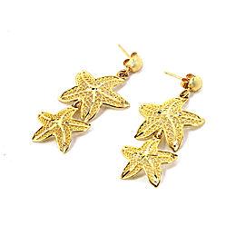 Double Filigree Starfish Drop Dangle 14k Yellow Gold Earrings