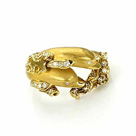 Carrera y Carrera Diamond 18k Yellow Gold Two Dolphin Ring
