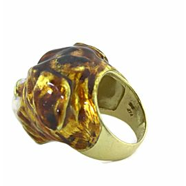 Enamel 18k Yellow Gold Diamond 3D Dog Head Ring