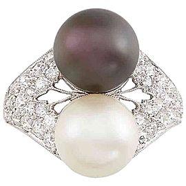 Platinum, Cultured Pearl, Tahitian Black Cultured Pearl and Diamond Ring