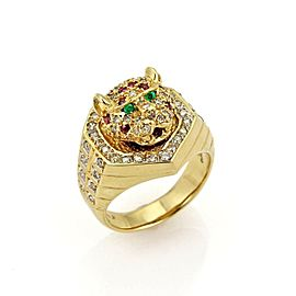 Estate 1.08ct Diamond Ruby & Emerald 18k Gold Moving Tiger Head Ring