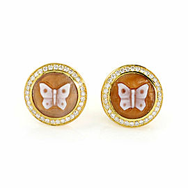 Ippolita Rock Candy Cameo Diamond Butterfly 18k Yellow Gold Stud Earrings