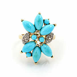 Turquoise Diamond 14k Two Tone Gold Floral Ring - Size 8