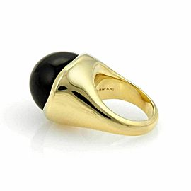 Tiffany & Co. Peretti Cabochon Black Jade 18k Yellow Gold Ring Size 7