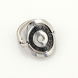 Bvlgari Bulgari Astral Cerchi 18k White Gold Steel Flex Oval Ring Size 4.75