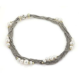 David Yurman Pearls Sterling 18k Yellow Gold Multi-Strand Chain Necklace