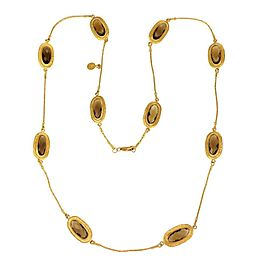 Gurhan Smoky Quartz 24k Yellow Gold Oval Station Straw Link Necklace