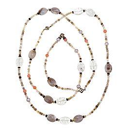 "David Yurman Tweejoux 925 Silver Multistone Assorted Bead Necklace 49""L"