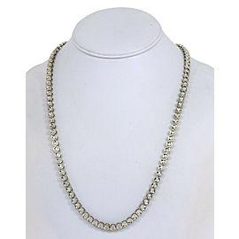 "Estate 4.05ct Diamond 14k White Gold Round Link Necklace 30.25"" Long"