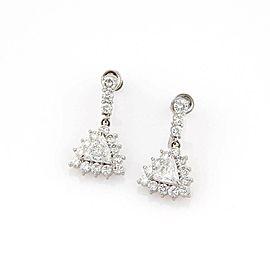 Estate Platinum 3.35ctw Trilion & Round Cut Diamond Drop Earrings