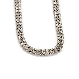 Estate 10ct Diamond 18k White Gold 8mm Wide Curb Link Chain Necklace