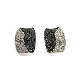 2.40tcw Black & White Diamond 14k White Gold Concave Post Clip Earrings