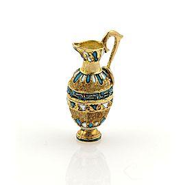 Vintage 14k Yellow Gold & Enamel Tall Water Jug Charm Pendant
