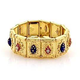 Estate 1.12ct Rubies & Diamond Enamel 18k YGold Large Floral Link Bracelet
