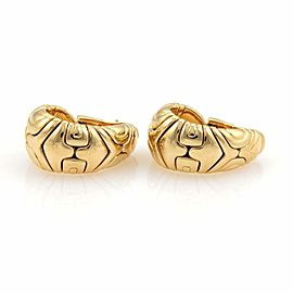 "Bvlgari Bulgari ""Alveare"" 18k Yellow Gold Oval Curved Hoop Earrings"