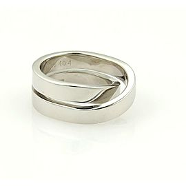 Cartier Nouvelle Vague Paris 18k WGold Double Band Ring Size EU 47-US 4.5