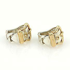 Hermes18k Yellow Gold & 925 Silver Belt & Buckle Hoop Earrings Clip On