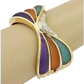 Estate 18K Yellow Gold Multi Colored Frosted Crystal and Diamond Cuff Bracelet
