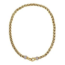 David Yurman 1.00ct Diamond 18k Yellow Gold 6mm Woven Chain Necklace
