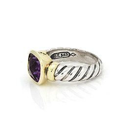 David Yurman Nobelesse Amethyst 925 Silver 14k Yellow Gold Oval Cable Ring