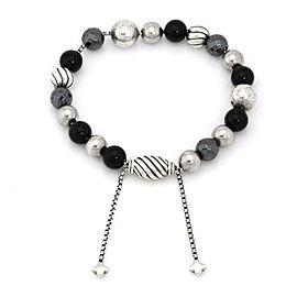 David Yurman Element Onyx Hematite 925 Silver Beaded Bracelet