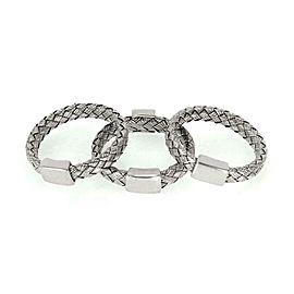 Roberto Coin Diamond 18k Gold Silk Basket Weave Set of 3 Stack Band Ring