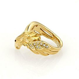 Carrera y Carrera Diamonds & Ruby 18K Yellow Gold Eagle Ring Size 4.5