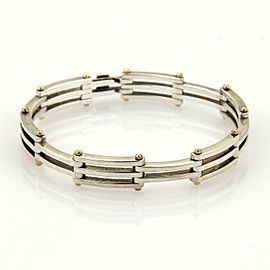 Tiffany & Co. Gatelink 925 Silver 18k Yellow Gold Section Link Bracelet