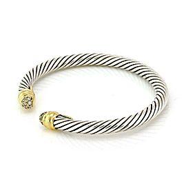 David Yurman Diamond 925 Silver 18k Yellow Gold Cable Cuff Bracelet