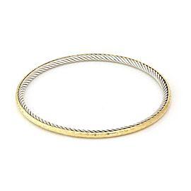"""David Yurman 925 Silver 18k Yellow Gold Cable Hammered Bangle 7.5"""""""