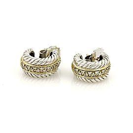 David Yurman Diamond 925 Silver 18k Yelow Gold Small Cable Hoop Earrings
