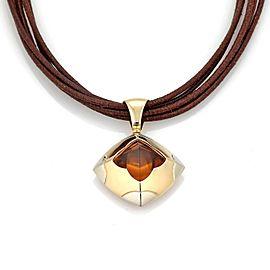 Bvlgari Bulgari Pyramide Citrine 18k Gold Floral Pendant & Cord Necklace