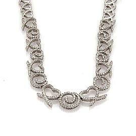 5.83ct Diamond 14k White Gold Graduated Hearts &Swirl Link Collar Necklace