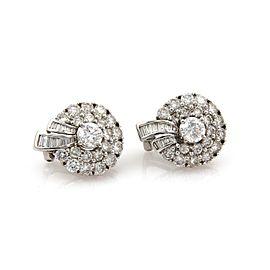 6.30 Carat Diamond 18k White Gold Wreath Style Huggie Post Clip Earrings