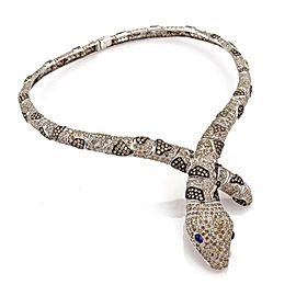 Estate 10.20tcw Champagne Diamond & Sapphire 18k Gold Snake Collar Necklace