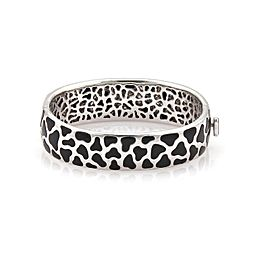 Roberto Coin Panda Onyx Diamond 18k White Gold 18mm Wide Bracelet