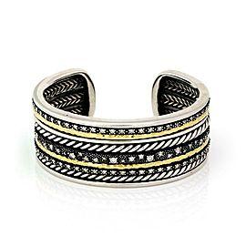 David Yurman Midnight Melange Diamond 18k Gold 925 Silver Cuff Bracelet