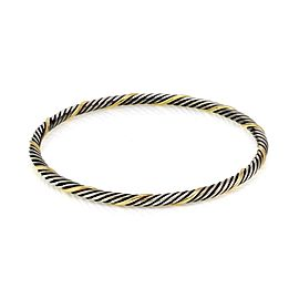 David Yurman Sterling Silver 18k Yellow Gold 4mm Cable Bangle