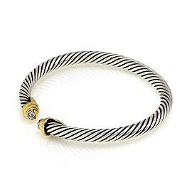 64692 David Yurman Pave Diamond 925 Silver 18k Gold Cable Cuff Bracelet Small