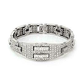 Stunning 8 Carats Baguette Round Diamonds Platinum Fancy Link Bracelet