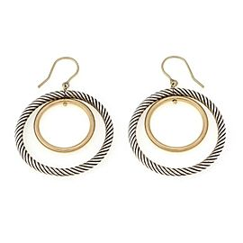 David Yurman 925 Silver 18k Yellow Gold Double Dangle Hoop Earrings