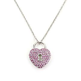 Tiffany & Co. Pink Sapphire Platinum Padlock Heart Pendant & Chain Necklace