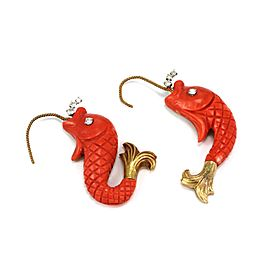 Nayan Oid Diamond Coral 18k Yellow Gold Carved Fish Hook Dangle Earrings