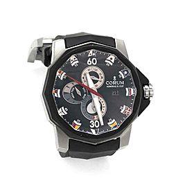 64712Corum Admiral's Cup Automatic Date Tides Titanium Rubber Men's Watch01.0005