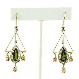Estate 7.15ct Green Tourmaline Diamond 18k Yellow Gold Chandelier Earrings