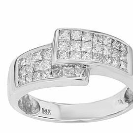 14K White Gold, 14K Rose Gold Diamond Ring Size 8.5