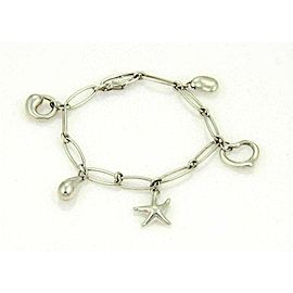 Tiffany & Co. Elsa Peretti Five Charm Sterling Silver Oval Link Charm Bracelet