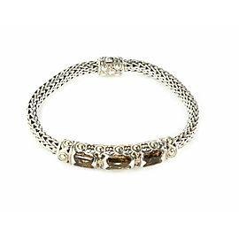 John Hardy Jaisalmer Smokey Quartz Sterling 18k Gold Weave Link Bracelet
