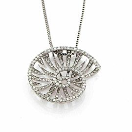 Ellini 2.40ct Diamond Snail 18k White Gold Pendant